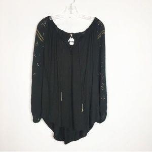 Free People black embellished long sleeve blouse M